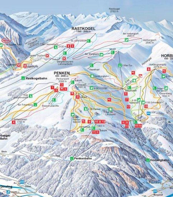 Plattegrond van het skigebied Mayrhofen.